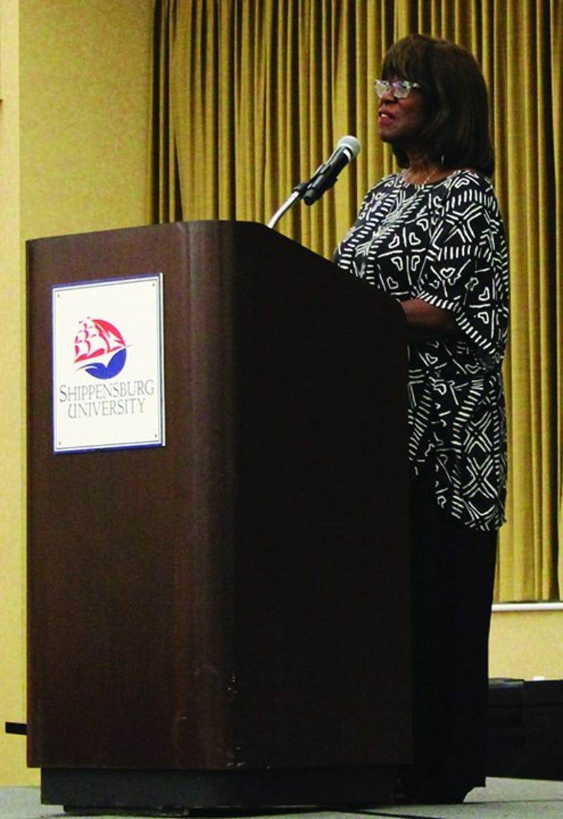 Patricia Smith speaks about her poetry during the keynote address of the English Association of Pennsylvania State Universities Conference. Smith has written and published eight books of poetry.