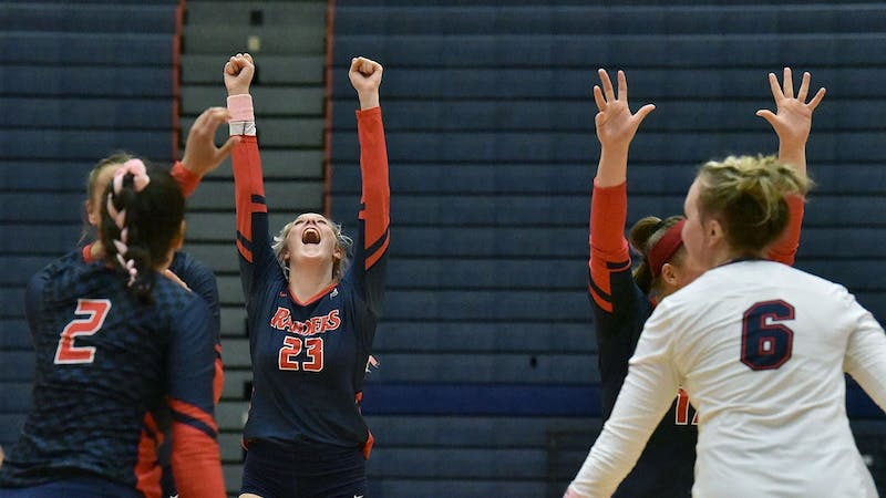 Shippensburg celebrates after a kill in their win over Millersville University on Friday.
