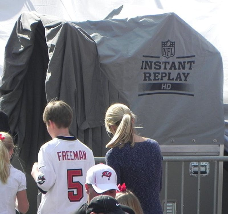 The NFL uses a replay booth for officials to a take closer look at calls they have made on recent plays, allowing them to make the correct decision.