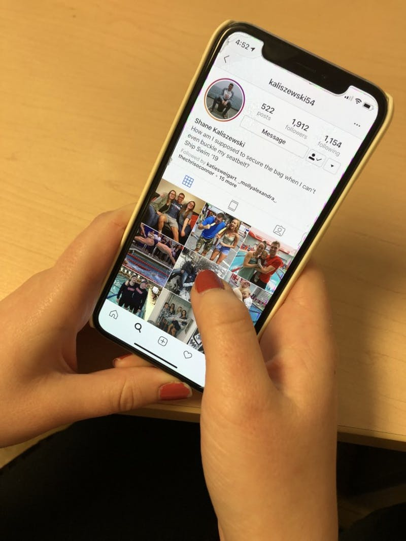 A Shippensburg student browses Instagram, a social media platform that is commonly used by infuencers to promote products and brands.