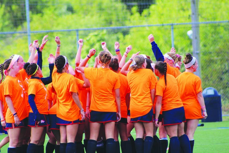 The Shippensburg University field hockey team wears orange T-shirts in honor of teammate Megan Hart, who is battling leukemia. SU will raise money at its remaining home games to support Hart in her recovery. Orange is the universal color for leukemia awareness.