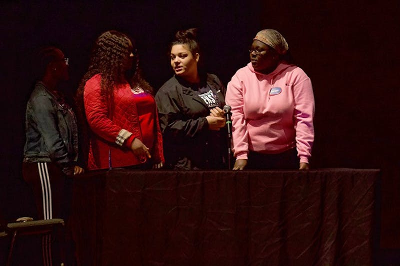 Students compete against each other in APB's first Ship Feud event on Thursday in Memorial Auditorium.