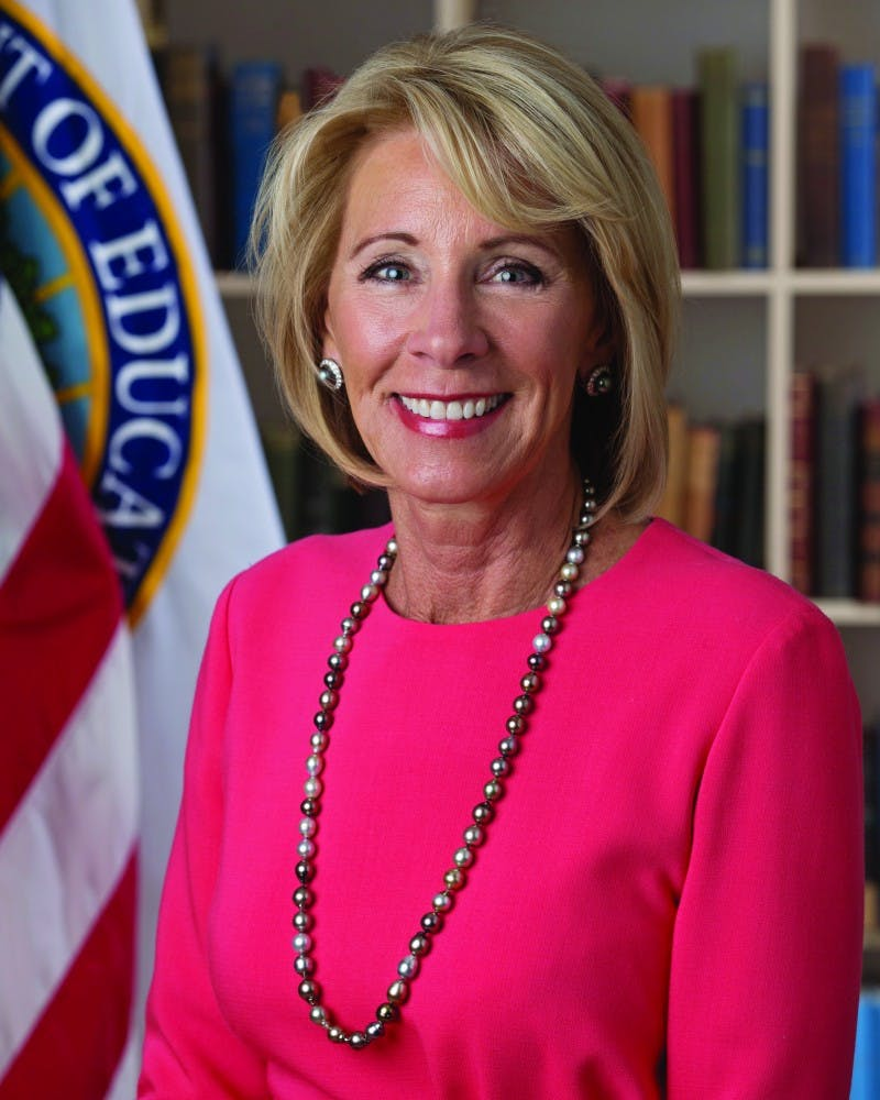 Education Secretary Betsy DeVos will rexamine parts of Title IX related to sexual assault.