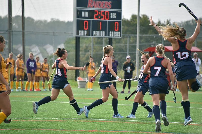 The Shippensburg field hockey team celebrates after Jenna Sluymer scored in the first period of their match with West Chester. SU moved to 10-0 on the year.