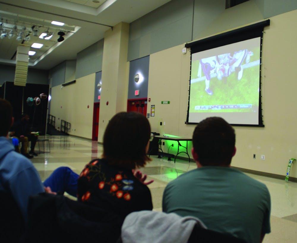 Students celebrate the Eagles' Super Bowl win
