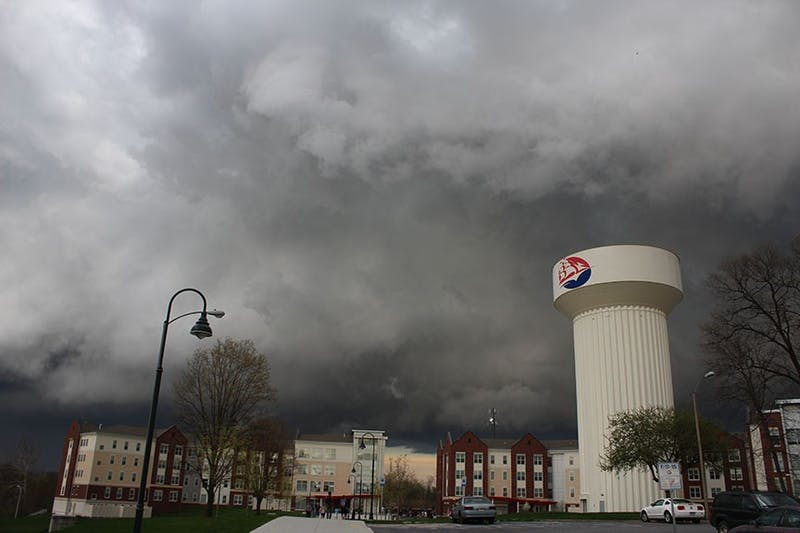 Storm cell moves over campus. Storm warning in effect until 8 p.m.