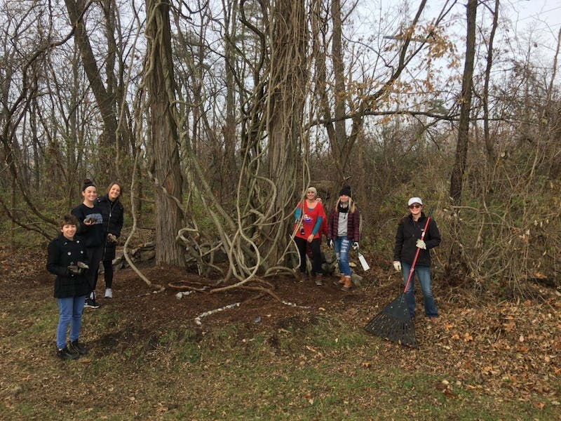 SU students in Steven Dolbin's fall 2017 basic sculpture course place rocks in the dirt to create an environmental sculpture that extends from the roots of a tree on the Cumberland Valley Rail Trail. Dolbin plans to have students create more eco-friendly art on the trail in future semesters.