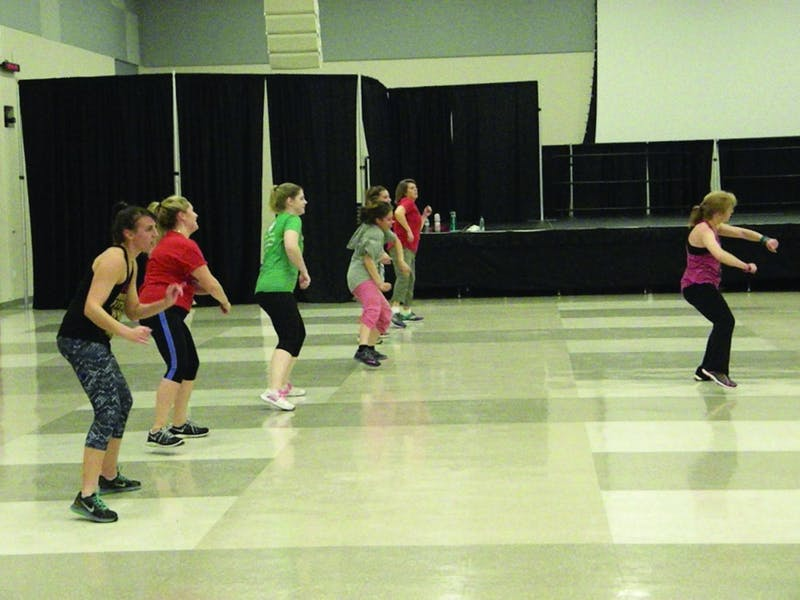Students dance in sync during Reach Out's Zumbathon event on Nov. 15.