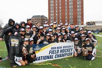The SU field hockey team celebrates its fourth NCAA Division II championship win in the last six seasons.