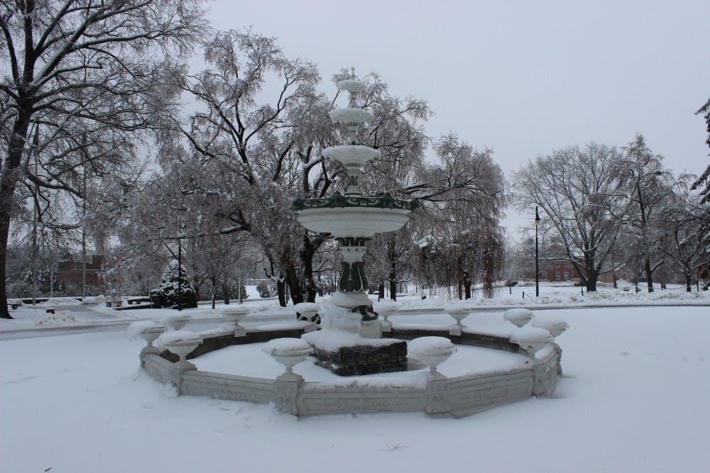 Winter blast of ice and snow passes through SU campus