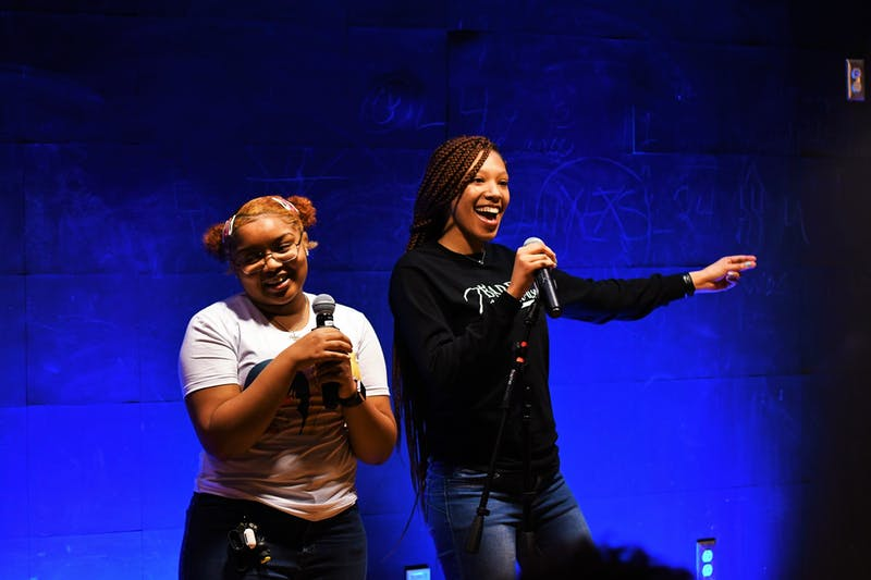 Students Makala Jackson (left) and Deja Jackson perform for the audience.