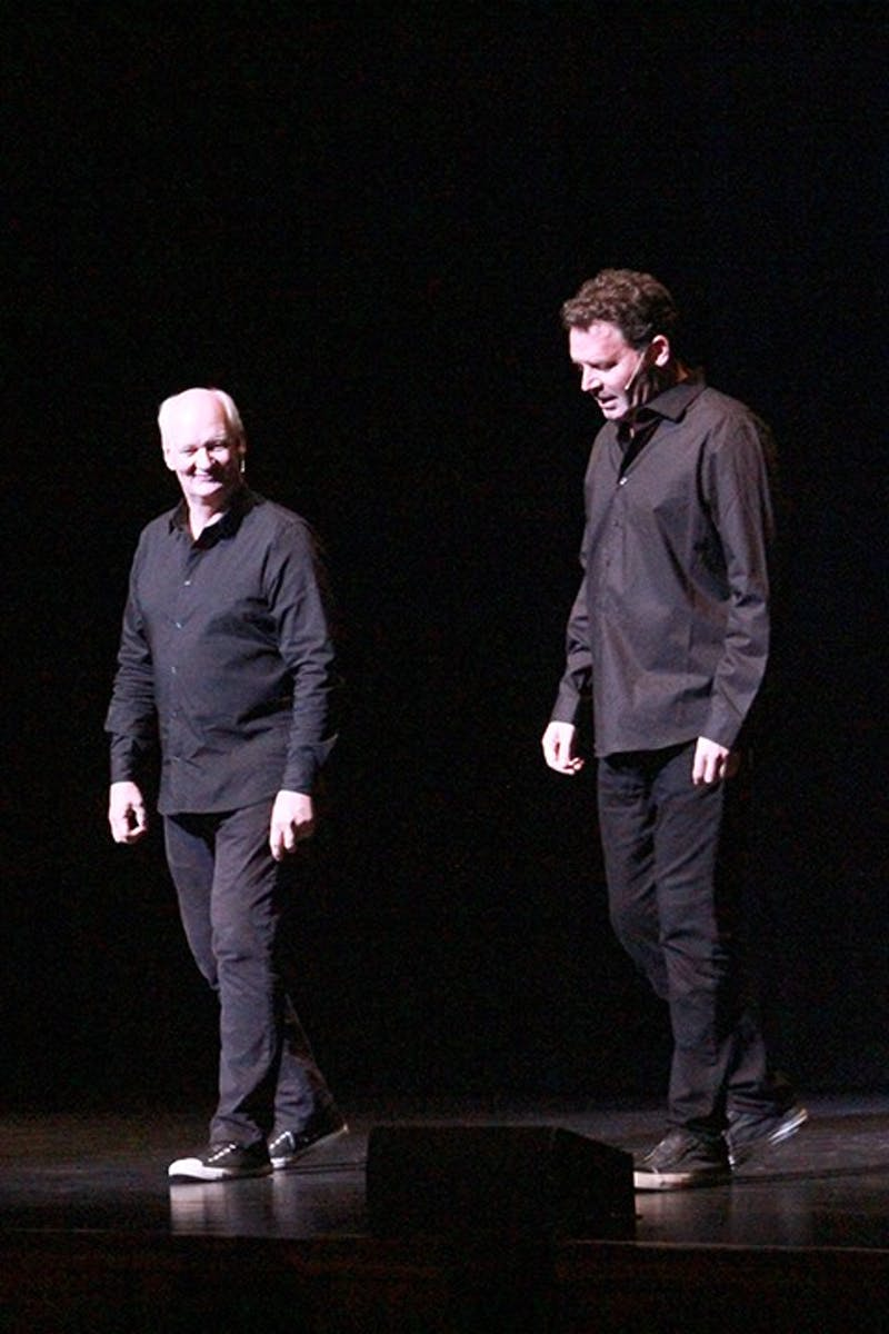 Colin Mochrie (left) and Brad Sherwood invited many members of the audience onto the Luhrs stage to help them generate content and act out skits.