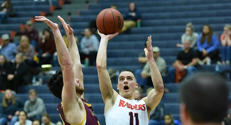 Jake Biss leads the Raiders in scoring, averaging 15.7 points per game. He has grown into one of the team's best players on both ends of the court.