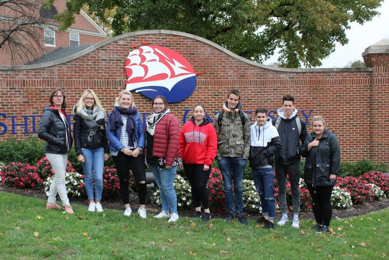 The students of families who housed SU students last summer make a visit to SU's campus through a partnership with SU and a school in Northern France.