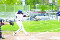 Jackson LoBianco singles in a game Friday versus Bloomsburg. LoBianco plated two runs in SU's 9-8 victory in Game 1 before Game 2 was later cut short due to inclement weather.