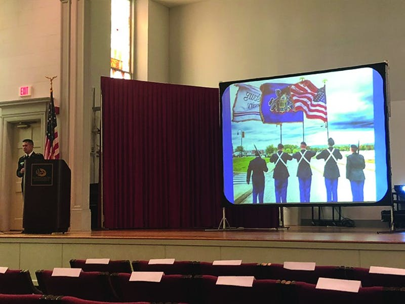 Cadet Michael Ochoa presents at this year's Army ROTC Veteran's Day Ceremony. This year marked the 100th anniversary of the end of World War I.