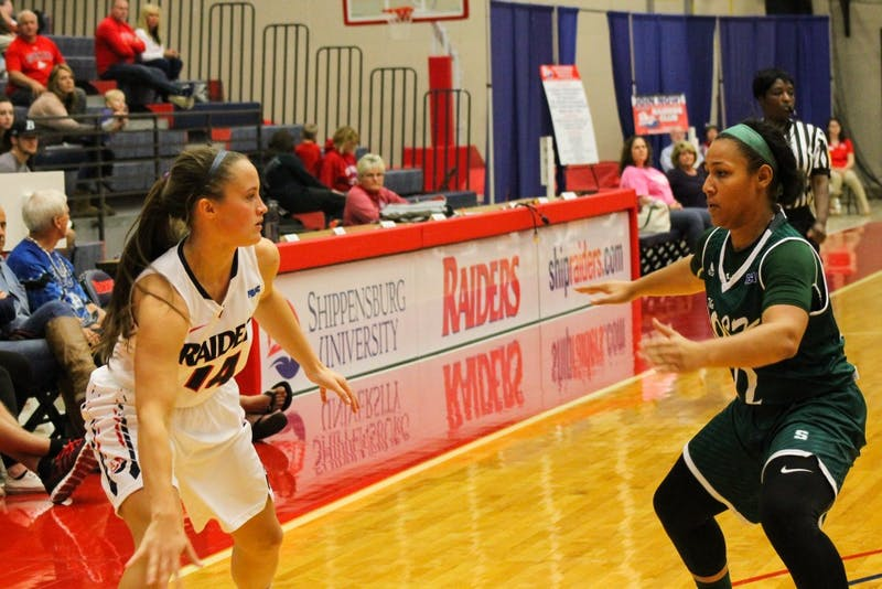 Women's basketball picks up its first conference win of the season against PSAC foe Slippery Rock, 94-58.