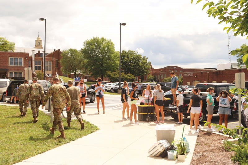 First year students started their welcome week with move-in day last Thursday. Student group volunteers like the football team, women's soccer team and ROTC members helped new Raiders get their belongings into the residence halls.