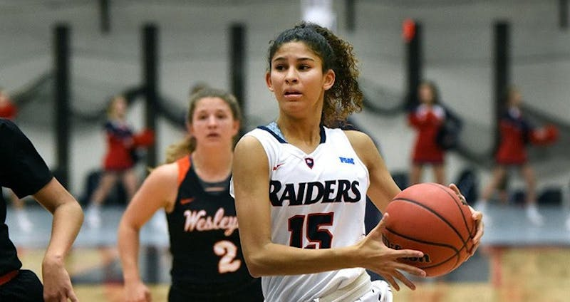 Raiders' sophomore guard Ariel Jones continues to lead the way with 26 points, five assists, five rebounds and two blocks in Sunday night's victory.