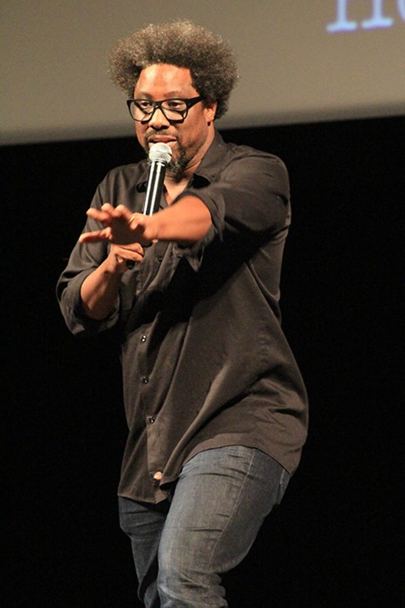 Day of Human Understanding speaker W. Kamau Bell speaks to a packed H. Ric. Luhrs Performing Arts Center audience on Wednesday evening. Bell focused his lecture on racism that still exists in today's society.