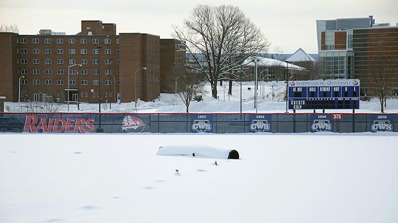 Several athletic events were postponed after a large snowstorm hit Shippensburg University. Baseball and softball were both canceled and moved to today.