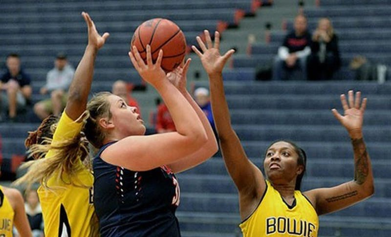 Center Kristin McGeough finished with 10 points and 11 rebounds in a great performance against Philadelphia University.