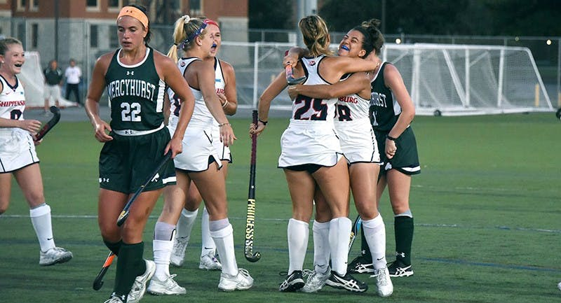 Freshman Sydney Gillingham, No. 25, celebrates her first career goal in the Raiders' win over Mercyhurst.