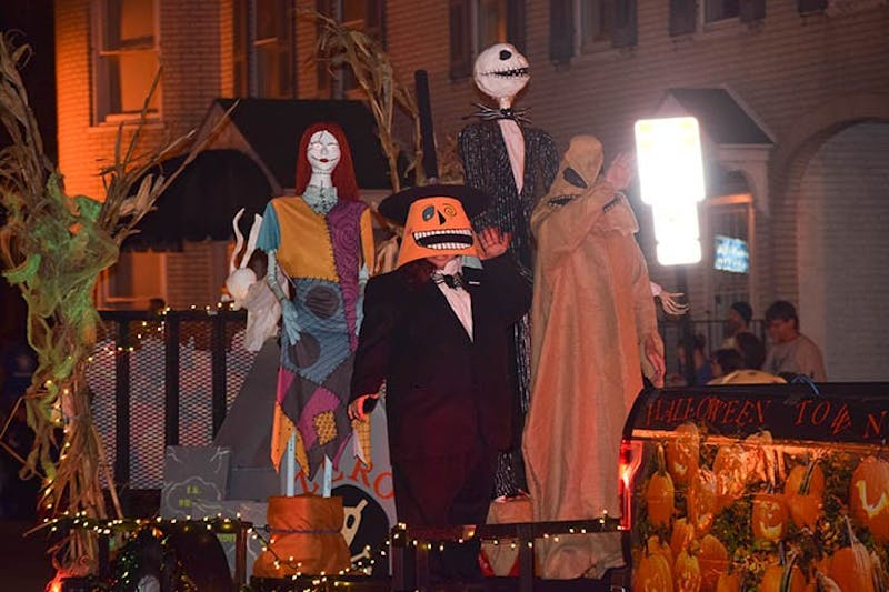 "Members of the Shippensburg community dress as characters from ""The Nightmare Before Christmas"" during the 30th annual Halloween parade."