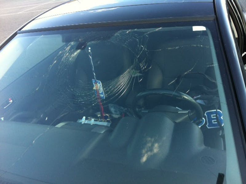 SU commuter student Marquita Johnson's windshield was broken while parked in a designated lot.