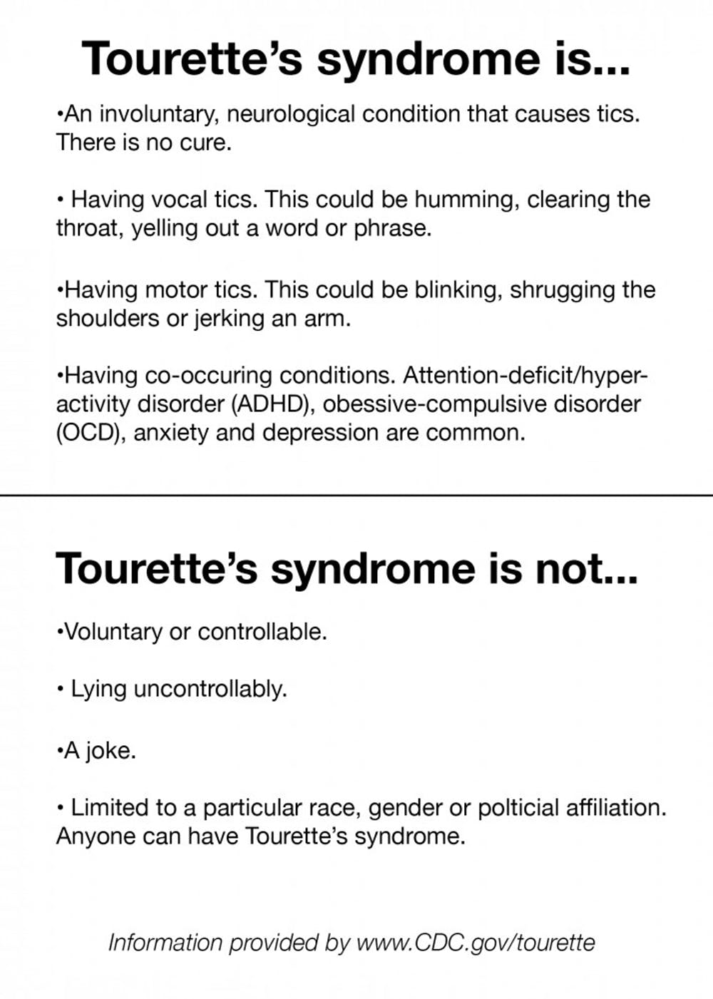 Tourette's is a disorder, not politics
