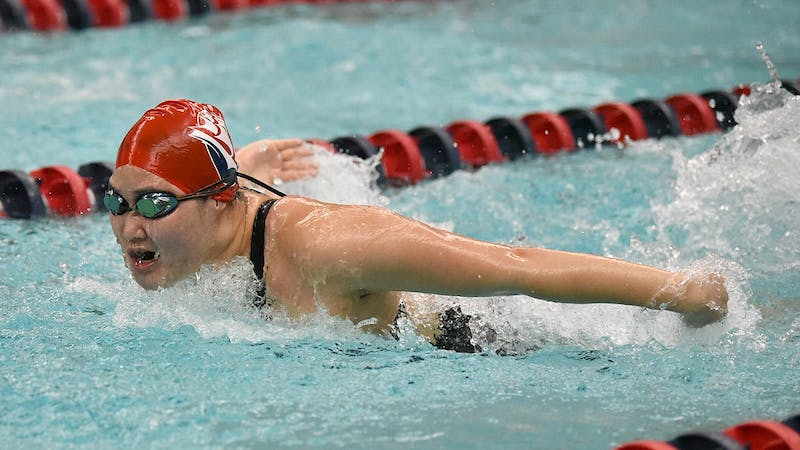 Junior Tomomi Nakano swims in one of Friday's second virtual meet events at Donald N. Miller Pool at Heiges Field House.