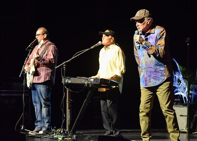 Original beach boys, Mike Love, alongside of Bruce Johnston, who joined The Beach Boys in the mid 1960s, lead the band in its cover-all set list.
