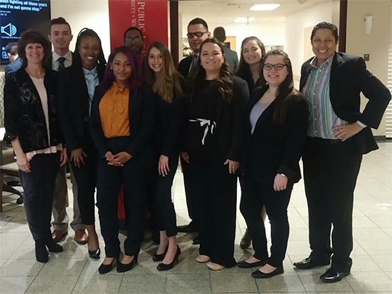 Nine members of the Robbie Oberly Mock Trial Team of Shippensburg University participated in the competition with many break-out performances.