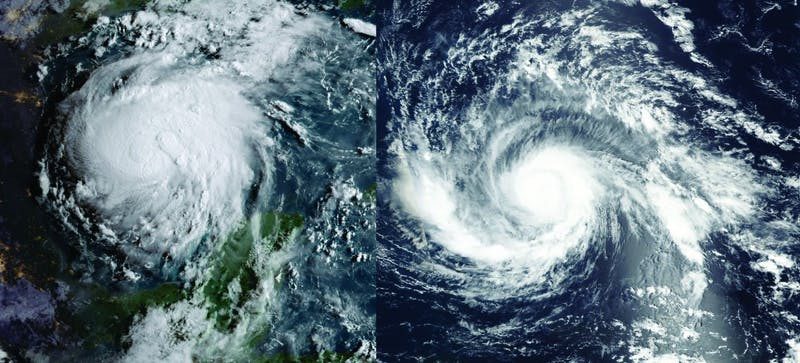 Hurricane Harvey, left, and Hurricane Irma made landfall over two weeks apart from one another.