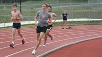 Freshman Drew Dailey (front) set a new school record Saturday in the 800-meters at Lehigh University's Happy Easter Races.