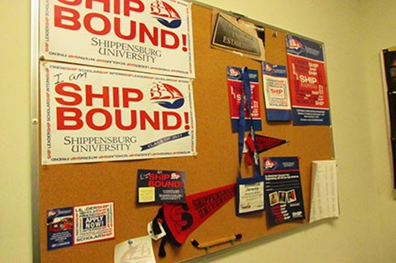 """The """"Ship Bound"""" sign is part of a social media campaign the admissions office uses."""