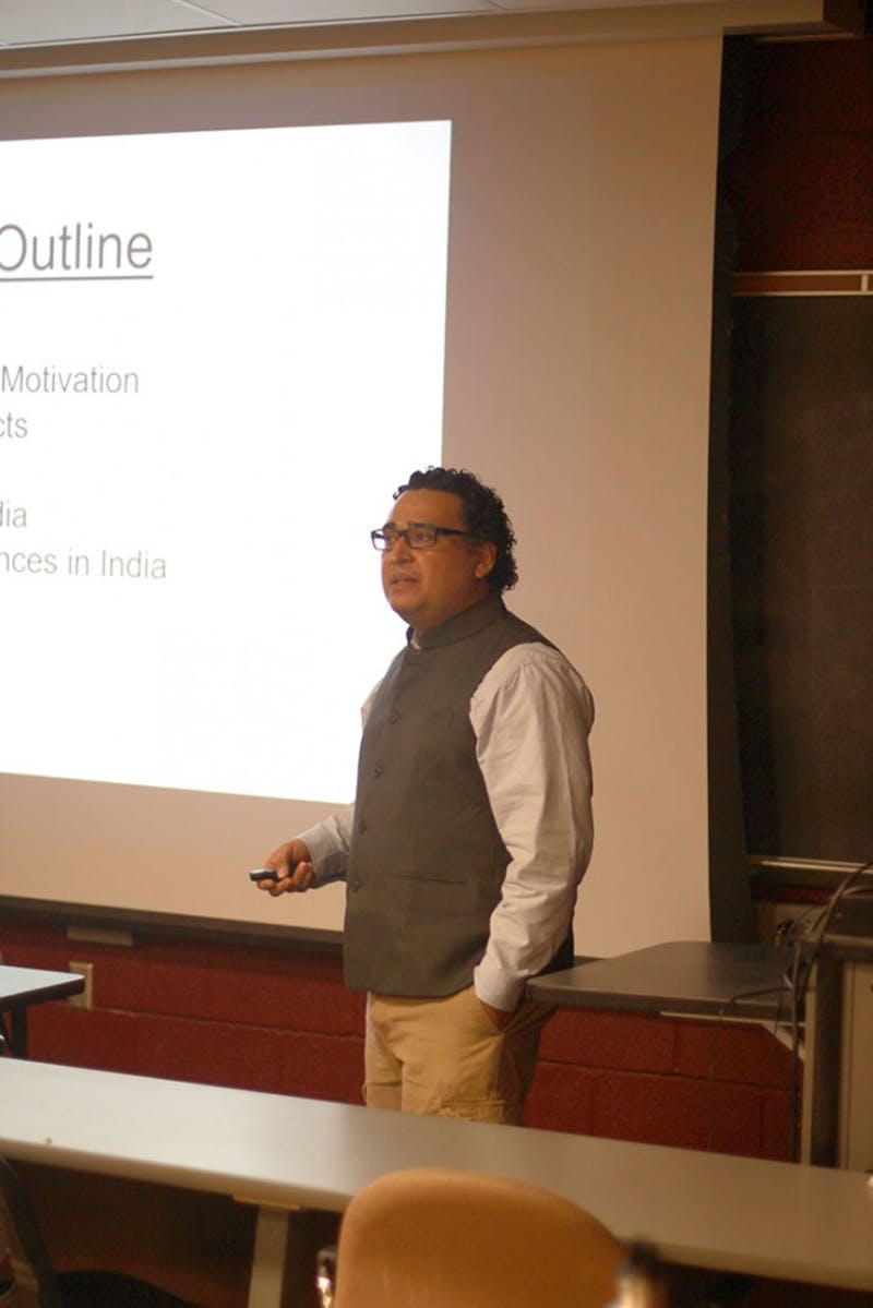 SU mathematics professor Luis Melara gives a lecture about his experience teaching in Bhubaneswar, India.