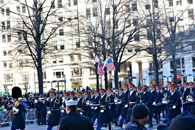The U.S. Army band marches down Pennsylvania Avenue during the 57th Presidential Inaugural parade.