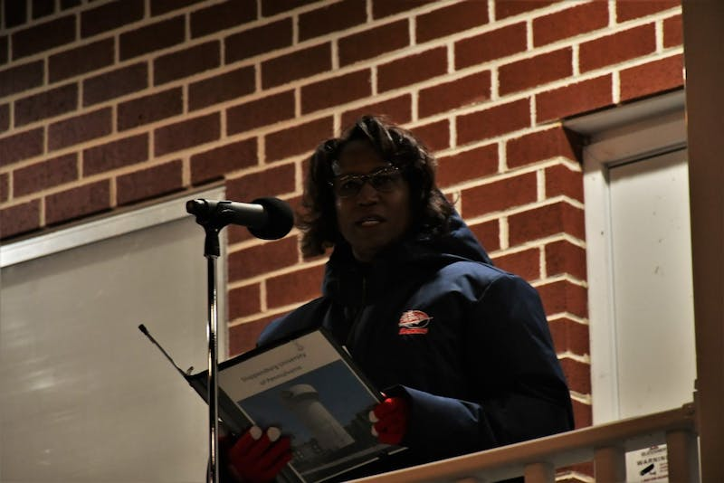 Shippensburg University President Laurie Carter gave a rallying speech and announced what the university was doing in the face of recent events.