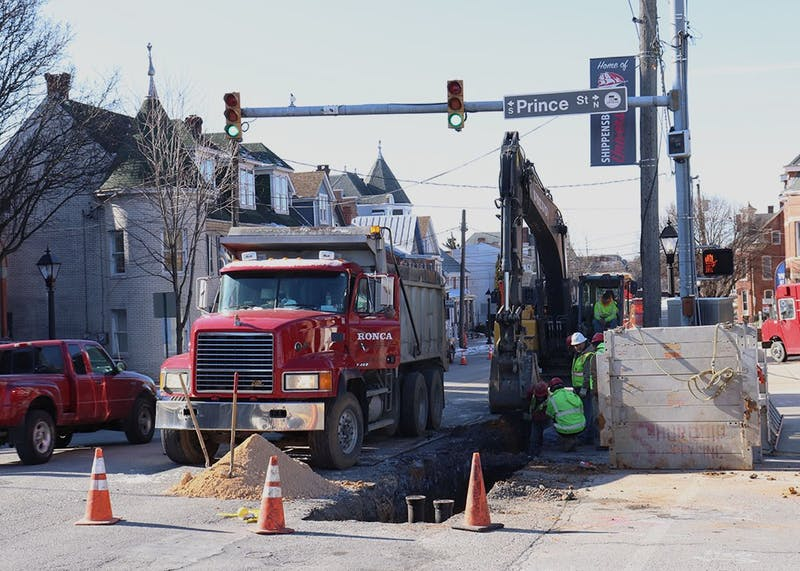 Traffic is detoured around a work site as construction begins along King Street near Prince Street on Monday. Work will be done Monday–Thursday from 7 a.m.-4 p.m. according to the Shippensburg Police Department Facebook page.