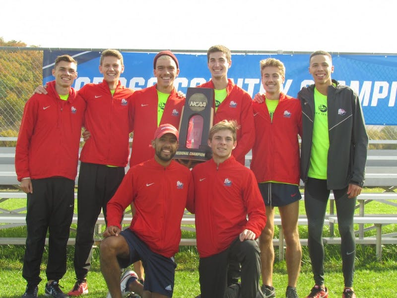 The SU men's cross-country team captured its third consecutive Atlantic Region title on Saturday at Lock Haven. Three Raiders finished in the Top 10, including Rob Moser who was the regional champion.