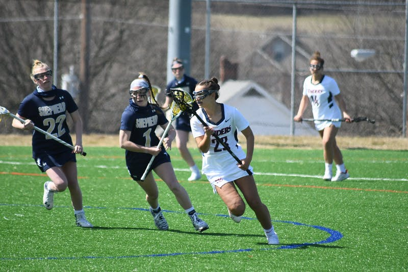 Sophomore Gabby Savarino (right) notched her fifth career hat trick Wednesday against West Chester before adding another two in Saturday's loss.
