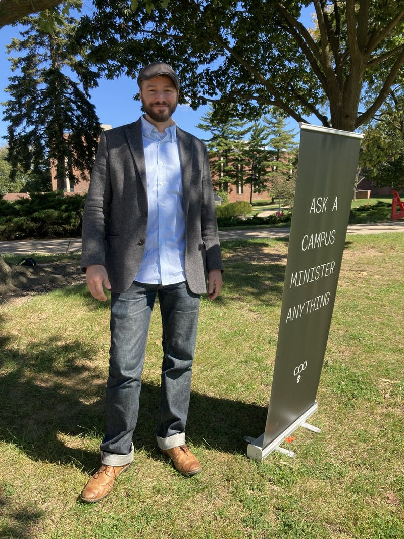 Matt Ramsay standing outside the Ezra Lehman Memorial Library.