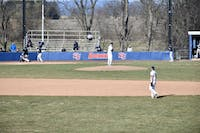 The SU baseball team plays in a game against Shepherd at Fairchild Field earlier this season. The Raiders finished their season at 17-19, being the last program to compete in a regular season contest May 7.