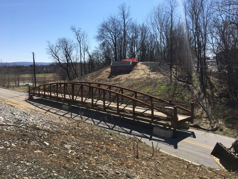 The newly constructed bridge awaits its installation over Fogelsonger Road. The money to build the bridge came mostly from state grants, along with donations from community events.