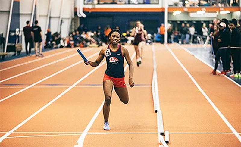 Adriana Baxter finishes third in the 55-meter race and sixth in the 200-meter race on Friday night.