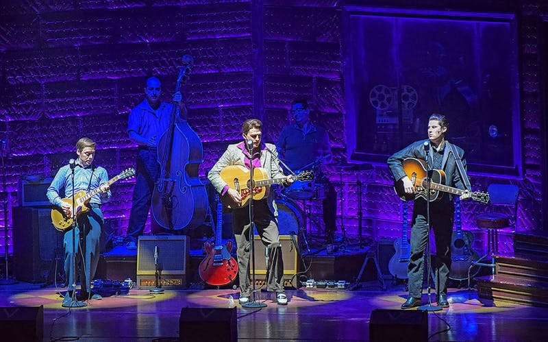 The 'Million Dollar Quartet' performs on stage at the H. Ric Luhrs Performing Arts Center. The performance told the story of Elvis Presley, Jerry Lee Lewis, Carl Perkins and Johnny Cash attempting to record a studio album together in 1956, though they never played live.