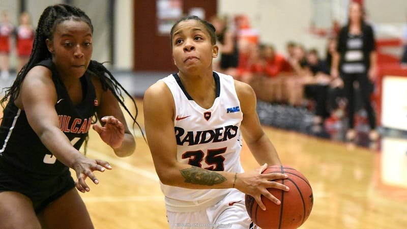 Destiny Jefferson led the Raiders with 25 points and nine rebounds in the team's loss to West Chester.
