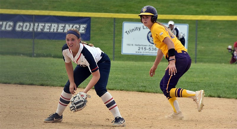 Freshman Hannah Marsteller smashes a three-run homer in the Raiders' 14-6 season-ending loss to West Chester University. Marsteller picked up five hits in nine at-bats during the Raiders' three-game run at the PSAC tournament. The freshman infielder finished the season with 10 homers and 13 doubles.