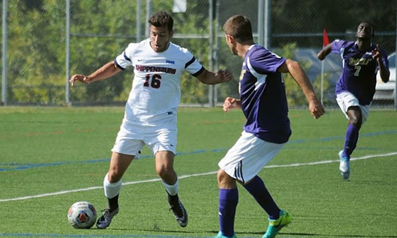 Midfielder Joey Gallucci, left, put on a show against Shepherd, scoring two goals and grabbing an assist to lead the charge in the record 7–0 win.